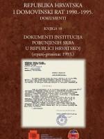 Republika Hrvatska i Domovinski rat 1990.-1995. – Dokumenti (knjiga 10): Dokumenti institucija pobunjenih Srba u Republici Hrvatskoj (srpanj-prosinac 1993.)